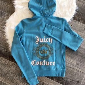 JUICY COUTURE Turquoise Zip Up Long Sleeve Hoodie